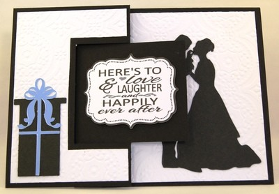 Embossed wedding card with gift card insert
