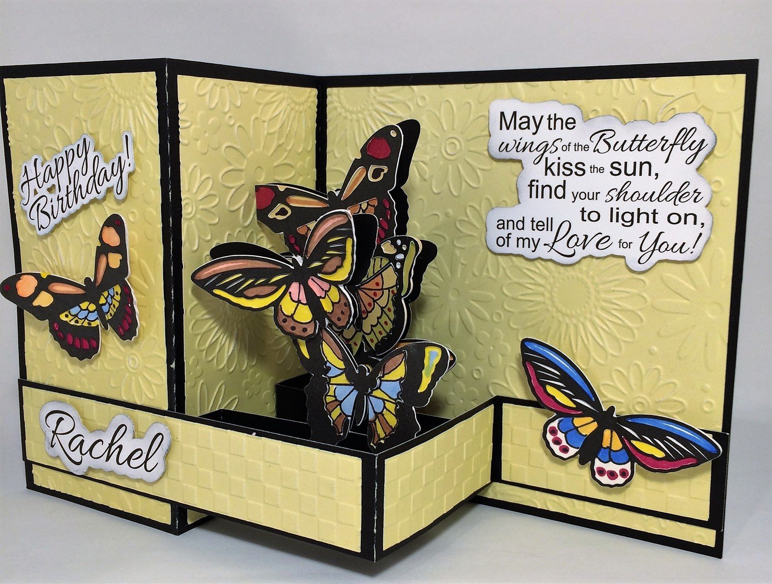 Primary colored Butterfly birthday card