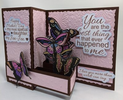 Butterfly card  Pink-Brown- Magenta