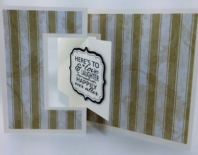 Fold-Out Striped Gender Neutral Wedding card
