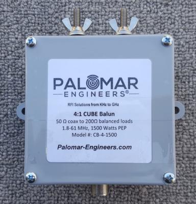 50:200 (4:1) CUBE™ Ladder Line to Coax Balun, 1.8-61 MHz, 1500 Watts PEP, Zepp