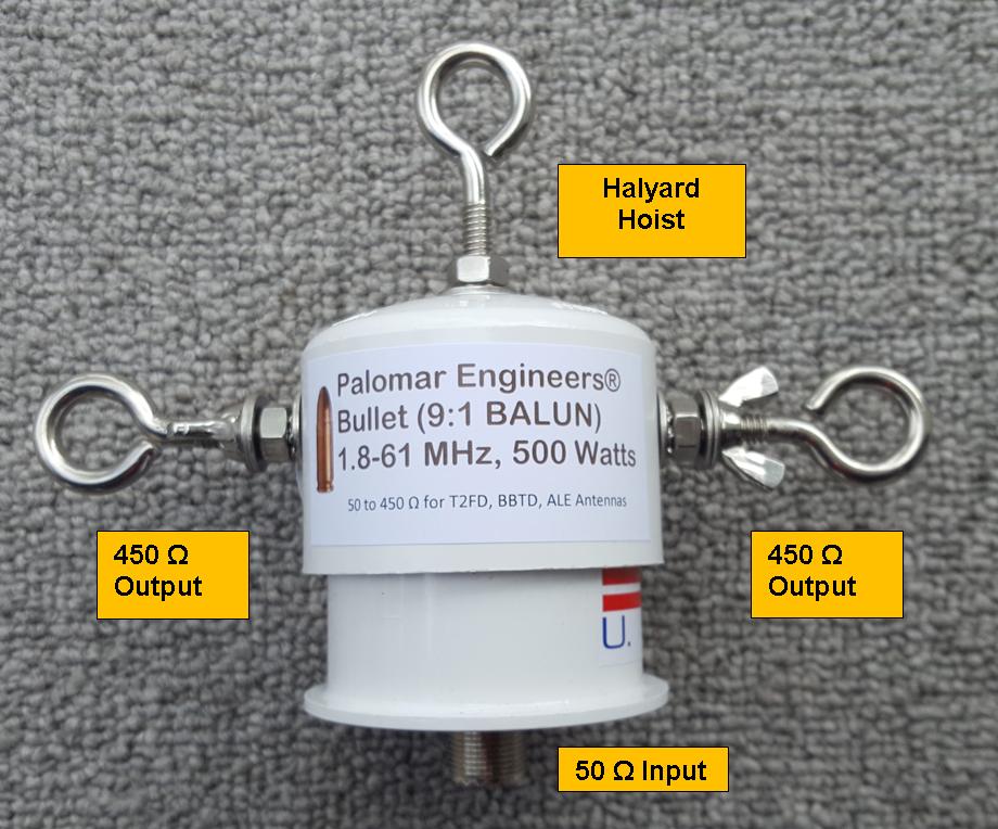 Bullet 50:450 (9:1) HF Balun, 1.8-61 MHz, 500/1500 Watts, T2FD, BBTD, ALE Bullet-9B