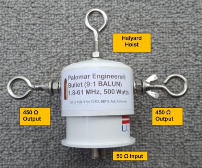 Bullet 50:450 (9:1) HF Balun, 1.8-61 MHz, 500/1500 Watts, T2FD, BBTD, ALE