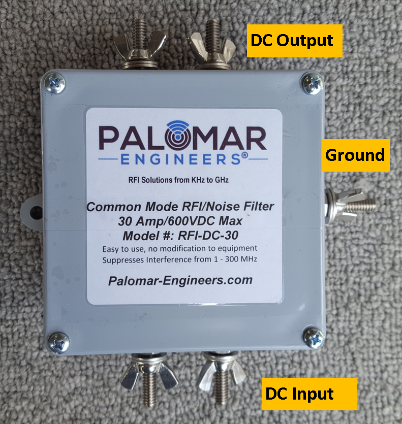 DC Voltage Common Mode Noise Filter - Marine, RV, Communications, 600 Volts/30 Amps