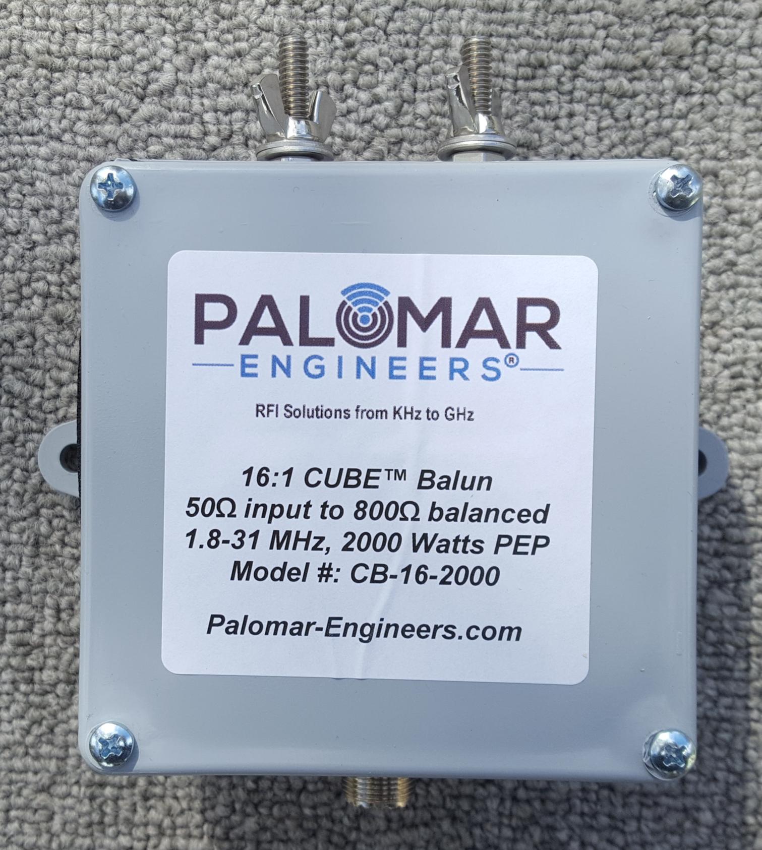 50:800 ohm (16:1) CUBE™ Balun, 1-31 MHz, 1KW/2KW PEP CB-16-2000