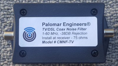 CABLE TV/Satellite RFI Coax Noise Filter, stops 1-60 MHz common mode interference