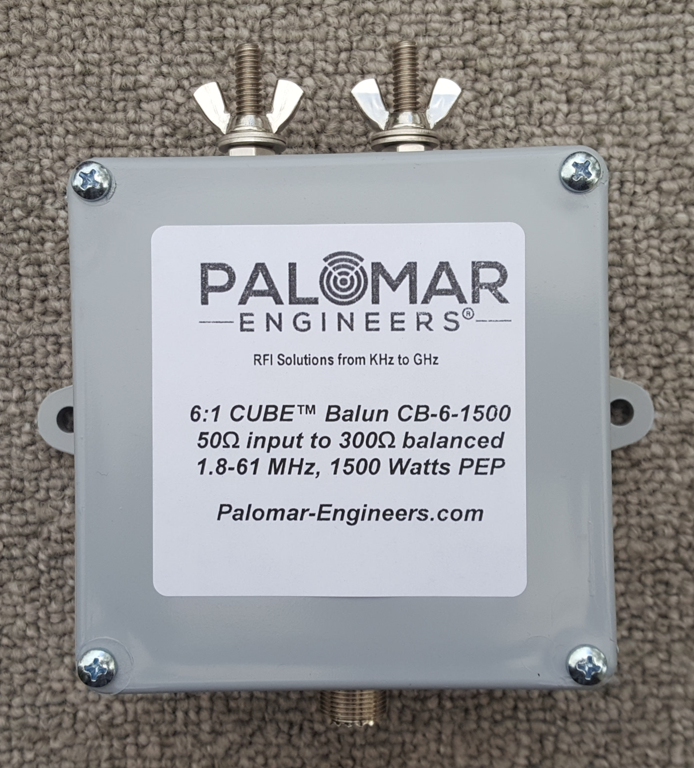 50:300 (6:1) CUBE™ Balun, 1-61 MHz, 1.5/3KW (choose top stud/eyebolt/power rating) CB-6-1500