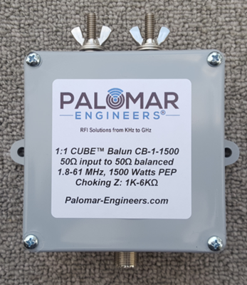 50:50 (1:1) CUBE™ Ladder Line to Coax Balun, 1.8-61 MHz, 1.5KW, G5RV/ZS6BKW/Dipole