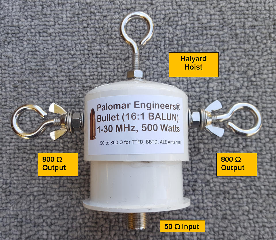 Bullet 50:800 (16:1) HF Balun, 1-31 MHz, 500/1500 Watts, T2FD, BBTD, ALE Bullet-16B
