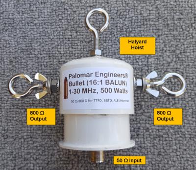 Bullet 50:800 (16:1) HF Balun, 1-31 MHz, 500/1500 Watts, T2FD, BBTD, ALE