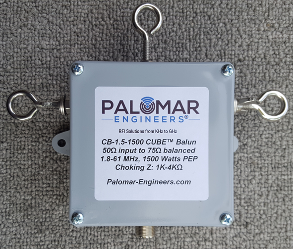 50:75 ohm (1.5:1) CUBE™ Balun/Unun, 1.8-61 MHz, 1.5KW PEP CB-1.5-1500SO