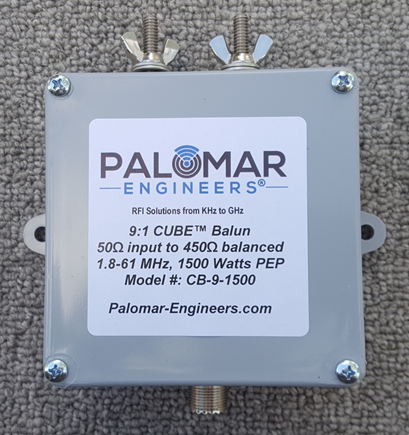 50:450 ohm (9:1) CUBE™ Balun, 1.8-61 MHz, 1.5 KW, ladder line, ZEPP, T2FD CB-9-1500TS