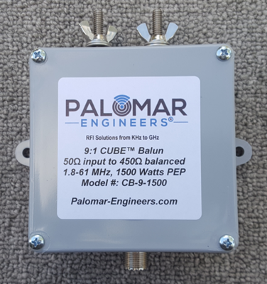 50:450 ohm (9:1) CUBE™ Balun, 1.8-161 MHz, 1.5 KW, SO-239 Inout