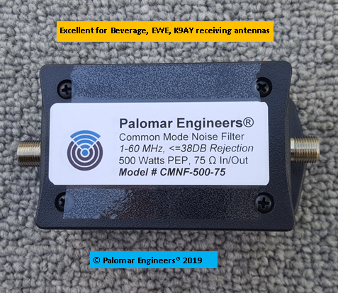 Beverage Antenna Coax Noise Filter, 1-60 MHz, Suppresses Common Mode RFI, 75 Ohm In/Out