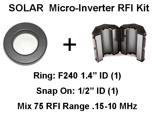"Solar Micro-inverter/PV Module Noise Filters (2)-ID=1.4"" Ring, 1/2"" Snap On RFI-PV-MI"