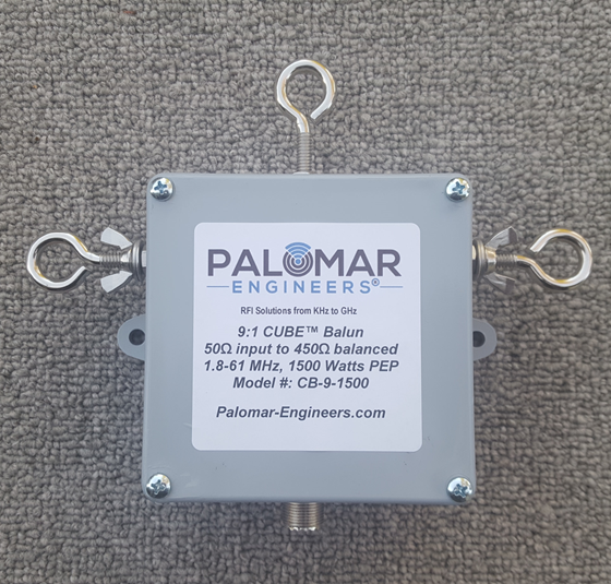 50:450 ohm (9:1) CUBE™ Balun, 1.8-61 MHz, 1.5 KW, ladder line, ZEPP, T2FD