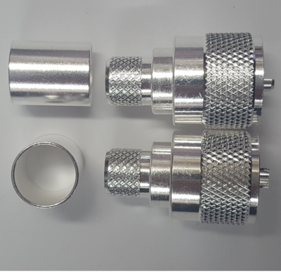 UHF PL259 Plug - Solder Center Pin, Crimp Shield - 2 Pack