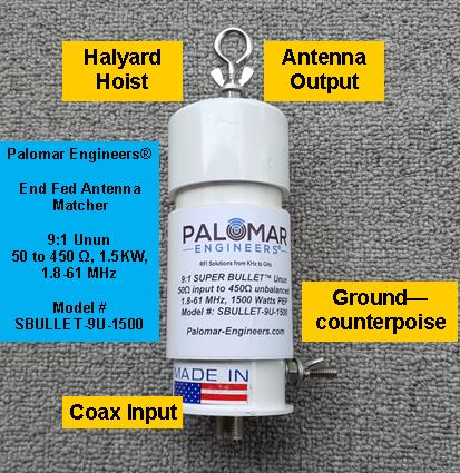 Bullet 50:450 (9:1) HF Unun, 1.8-61 MHz, 1500 Watts, End Fed Antennas