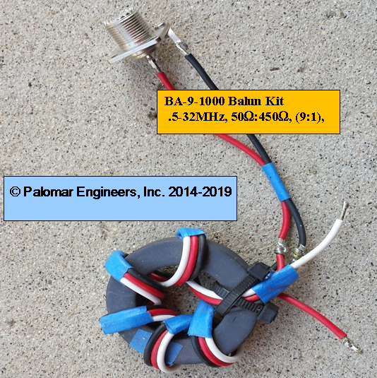 50:450 ohm (9:1) Balun or Unun Core Kit, .5-32 MHz, 1000 watts PEP, end fed/Ladder Line, T2FD antenna BA-9-1000