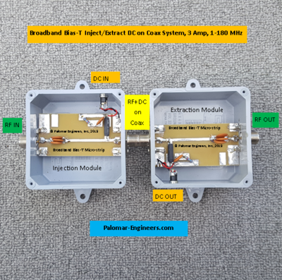 Deluxe Broadband Bias-T - Inject/Extract DC on Coax System, 3 Amp, 1-180 MHz