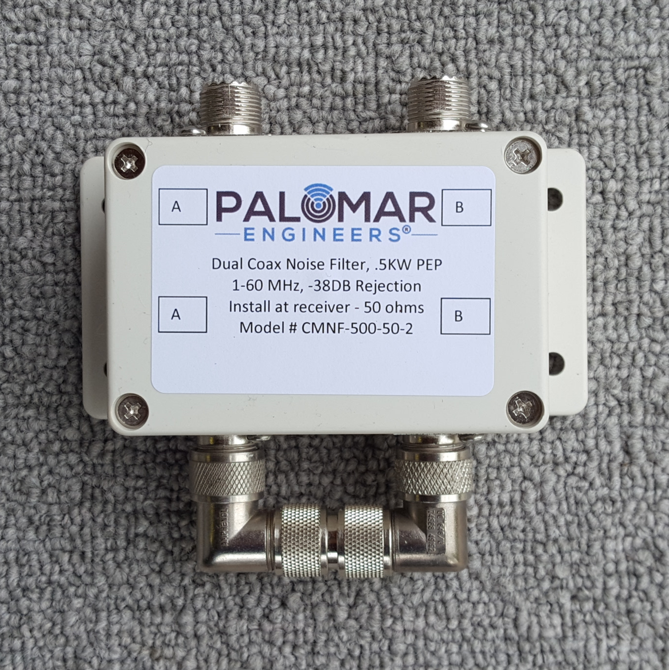 Dual Port Coax Common Mode Noise Filter - 500 Watts PEP, 1-60 MHz
