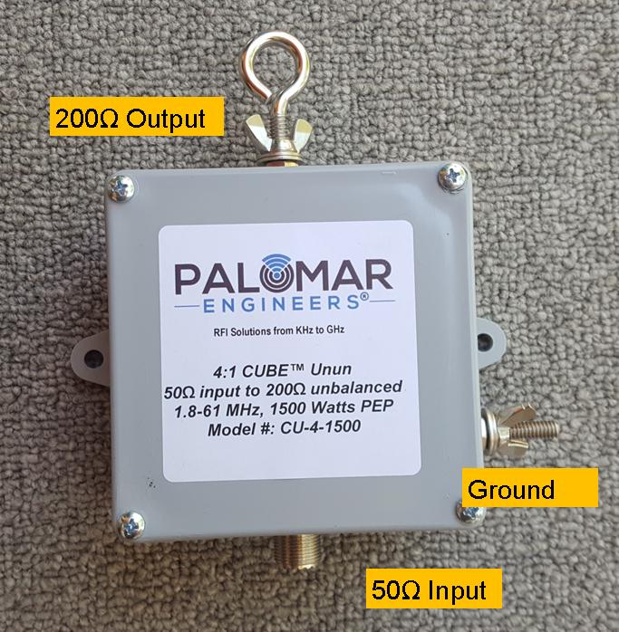 50:200 (4:1) CUBE™ Unun, 1.8-61 MHz, 1500 Watts PEP, Sloper, Vertical
