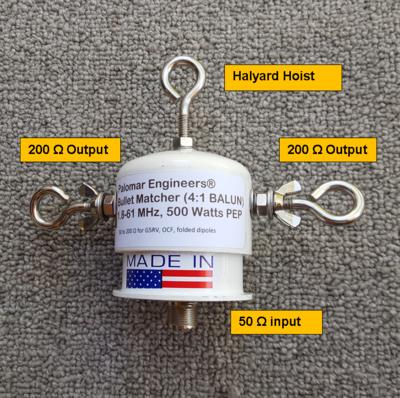 Bullet 50:200 (4:1) HF Balun, 1.8-61 MHz, 500/1500 Watts PEP, Loop, OCF, ZEPP