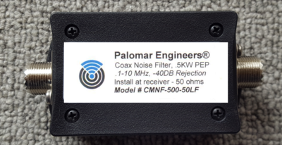 Coax Common Mode Noise Filter - 500 Watts PEP, .1-10 MHz Low Frequency 160-40 Meters