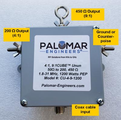 Multi Ratio 50:200 (4:1) & 50:450 (9:1) CUBE™ Unun, 1.8-31 MHz, 1.2 KW, end fed
