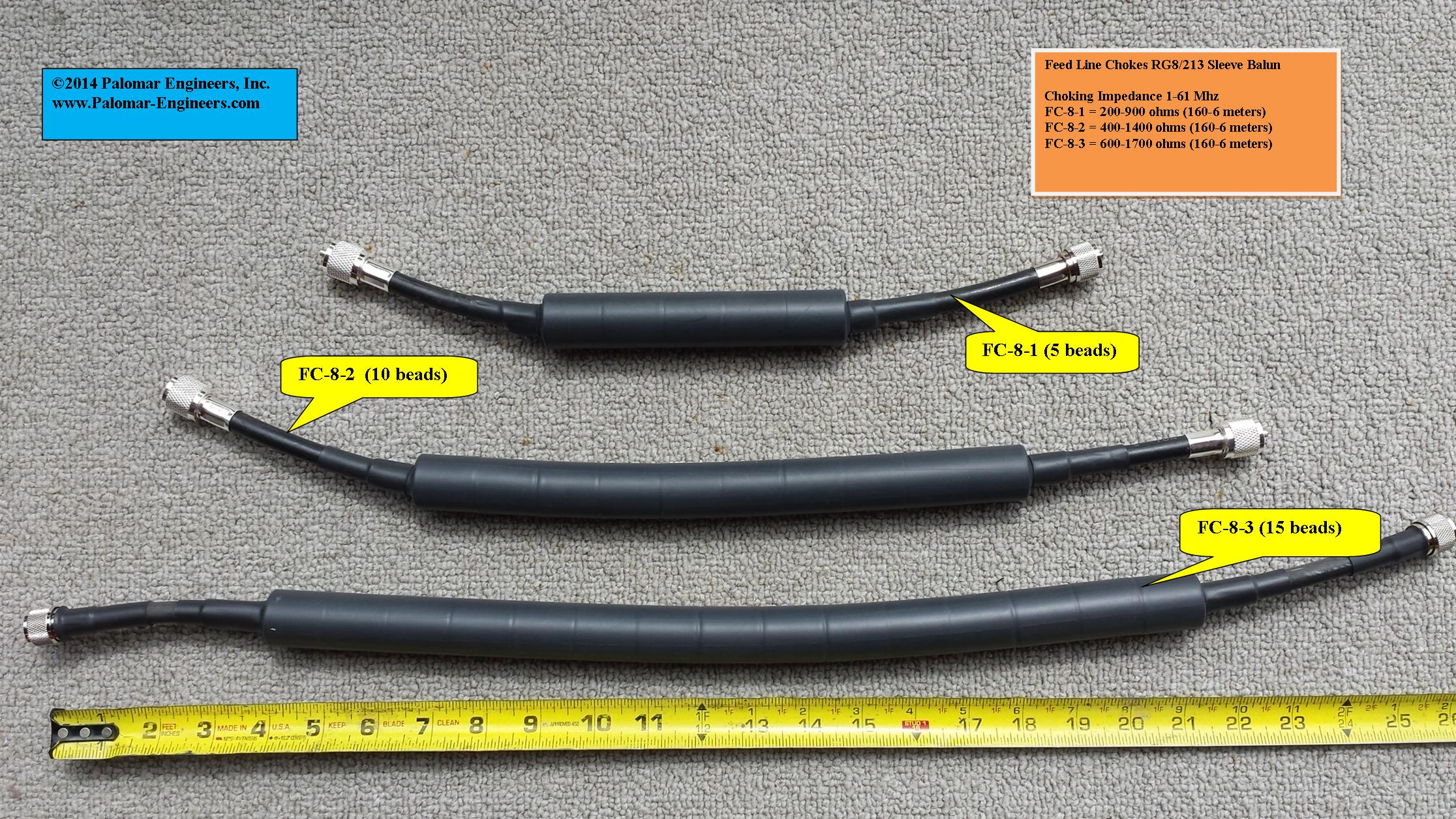 Coax Inline Common Mode Choke Unun - 5KW, 1-61 MHz FC-8-5