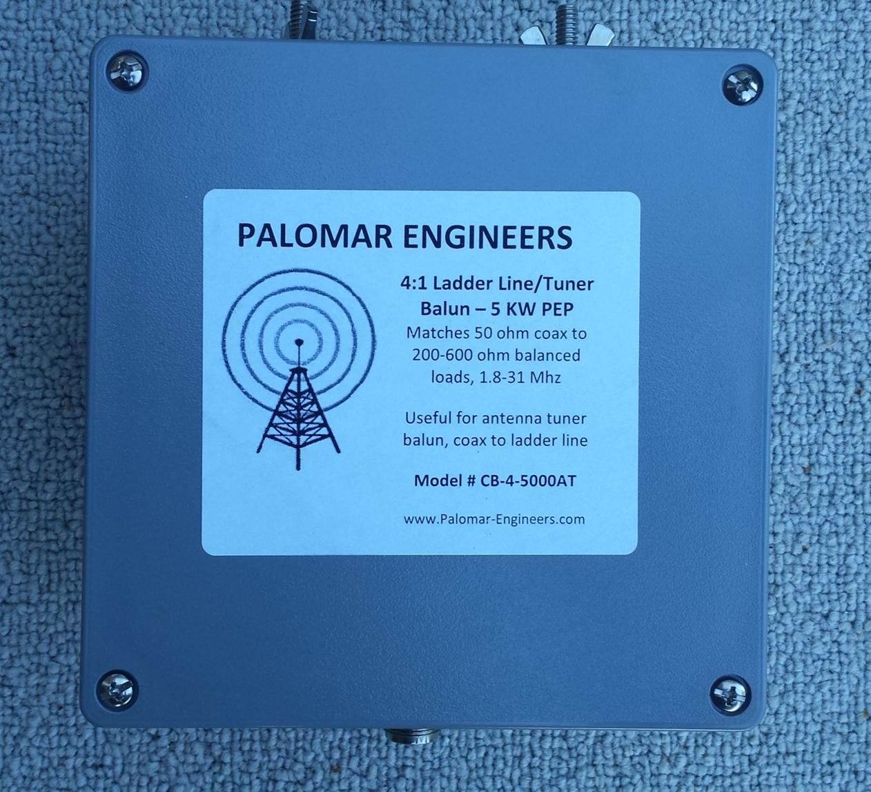50:200 (4:1) CUBE™ Ladder line to Coax Balun, 1.8-30 MHz, 5 KW PEP CB-4-5000ATT
