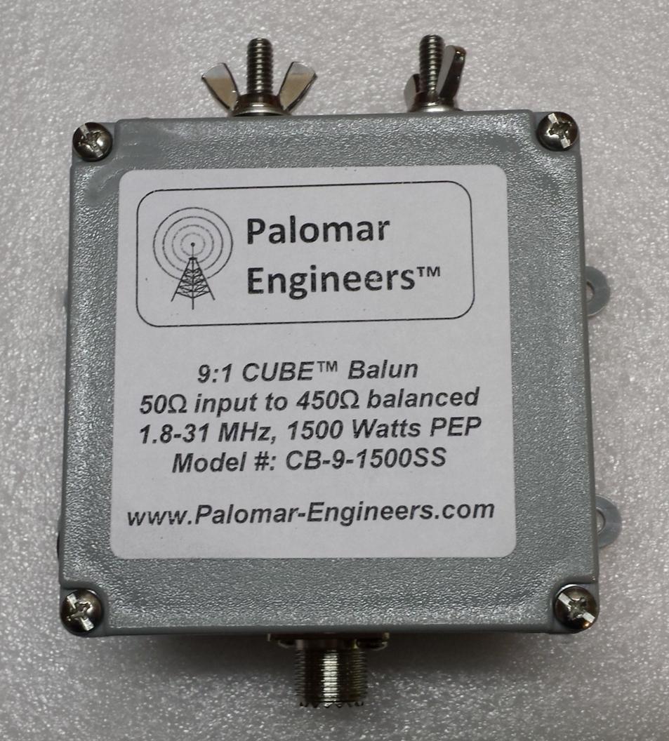 50:450 ohm (9:1) CUBE™ Balun, 1.8-61 MHz, 1.5 KW, ladder line CB-9-1500