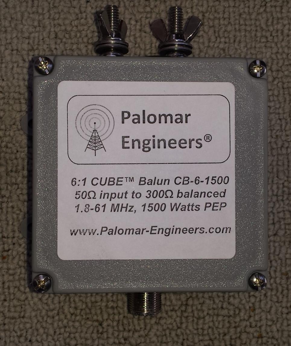 50:300 (6:1) CUBE™ Balun, 1-61 MHz, 1.5KW (choose top stud/eyebolt output) CB-6-1500