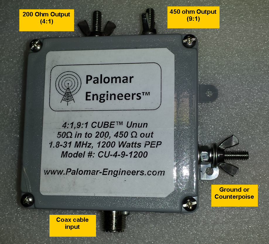 Multi Ratio 50:200 (4:1) & 50:450 (9:1) CUBE™ Unun, 1.8-31 MHz, 1.2 KW, end fed CU-4-9-1200