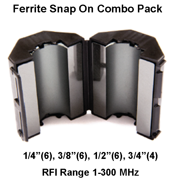 Ferrite Snap On Combo Pack, Mix 31, RFI Range 1-300 MHz - 22 filters FSCP-31-22