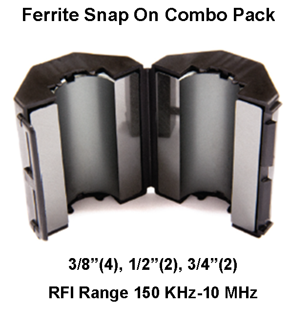 Ferrite Snap On Combo Pack, MIx 75, RFI Range 150 KHz-10 MHz - 8 filters