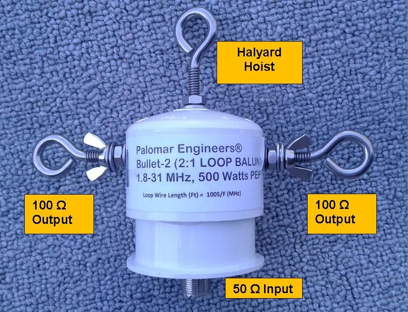 Bullet 50:100 (2:1) HF Balun, .1-61 MHz, 500 Watts PEP, Loop Antenna Bullet-2B