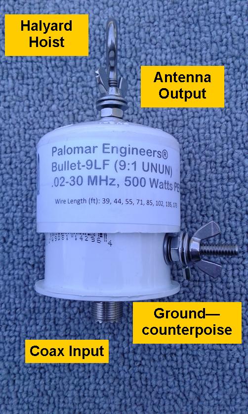 Bullet End Fed Antenna Matcher (9:1) - 500 watts PEP, 200 KHz-30 MHz, VLF, SWL Bullet-9LFU