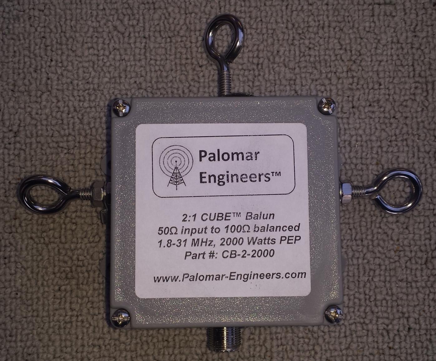 50:100 (2:1) CUBE™ Quad Core Balun, 1.8-60 MHz, 2KW, Loop Antennas - Eyebolts CB-2-2000EBX