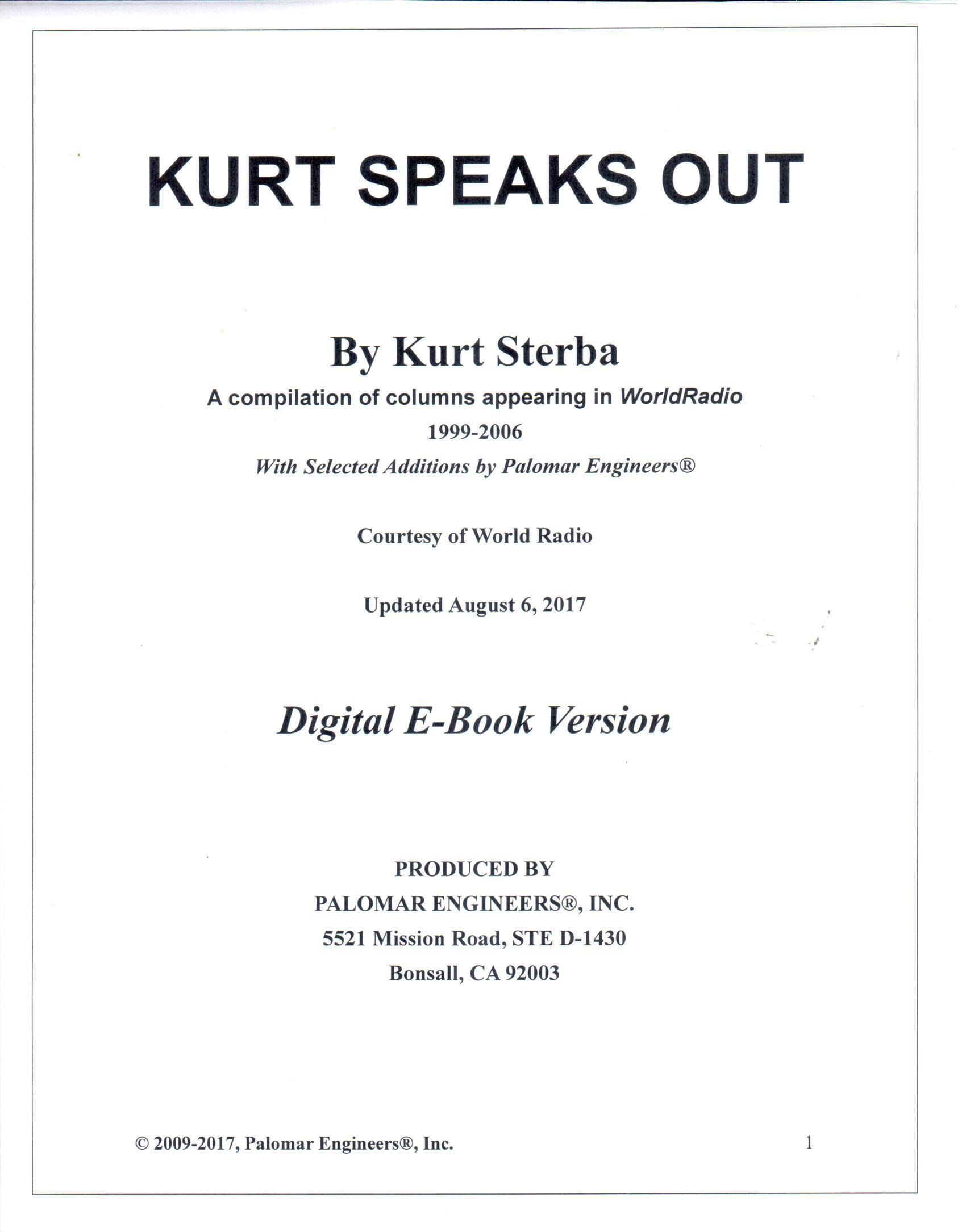 Kurt Speaks Out  - Digital PDF Version - Download Now! KURT-KSO-PDF