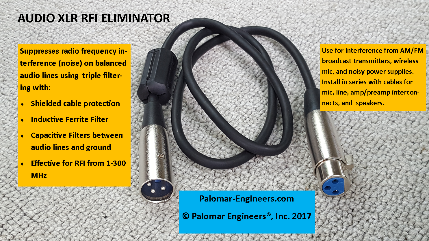 Audio RFI Eliminator for XLR cables - Triple in line filtering, male/female extension RFI-XLR-3