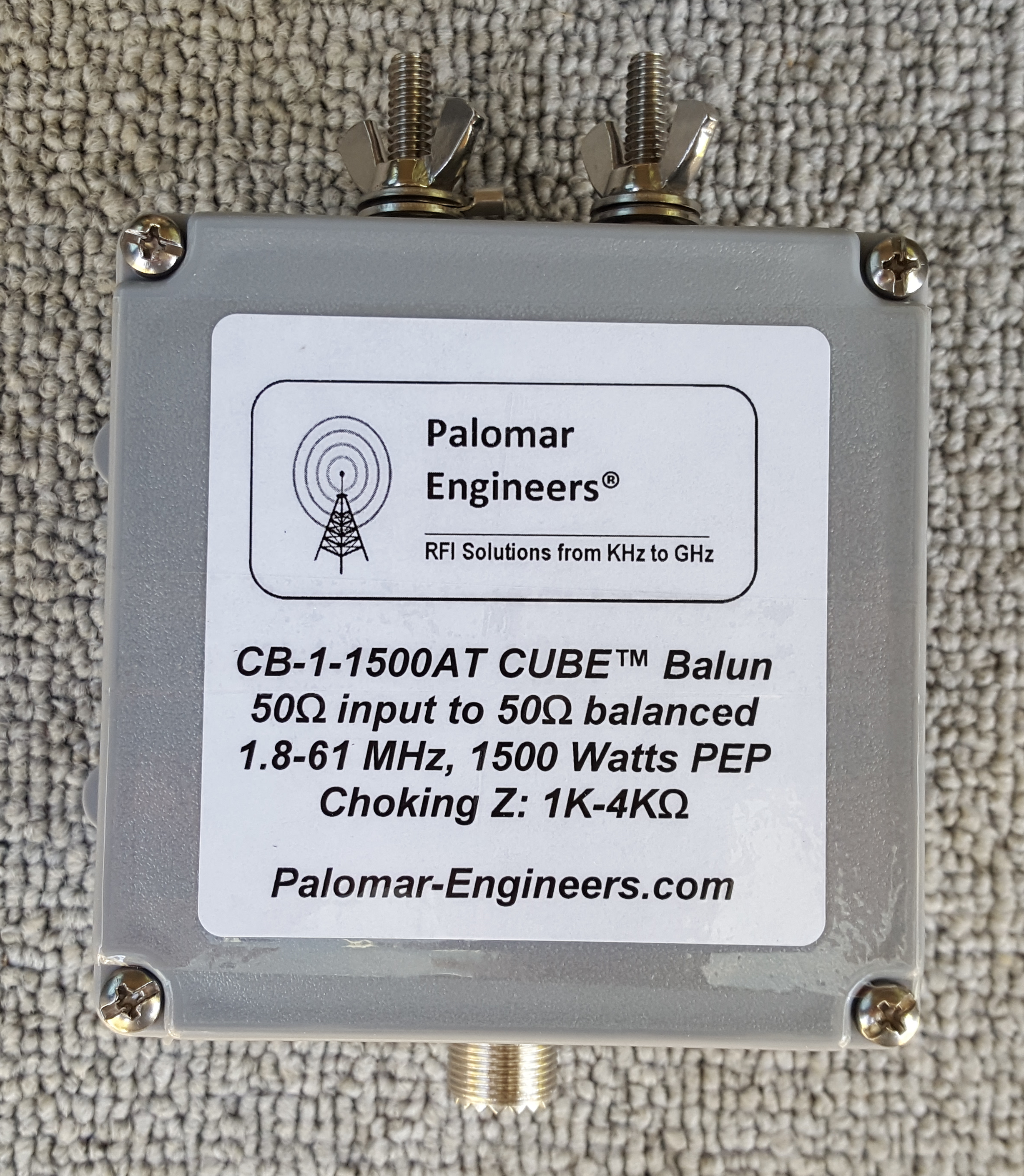 50:50 (1:1) CUBE™ Ladder line to Coax balun, 1.8-61 MHz, 1.5KW, G5RV/ZS6BKW CB-1-1500AT