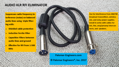 Audio RFI Eliminator for XLR cables - Triple in line filtering, male/female extension