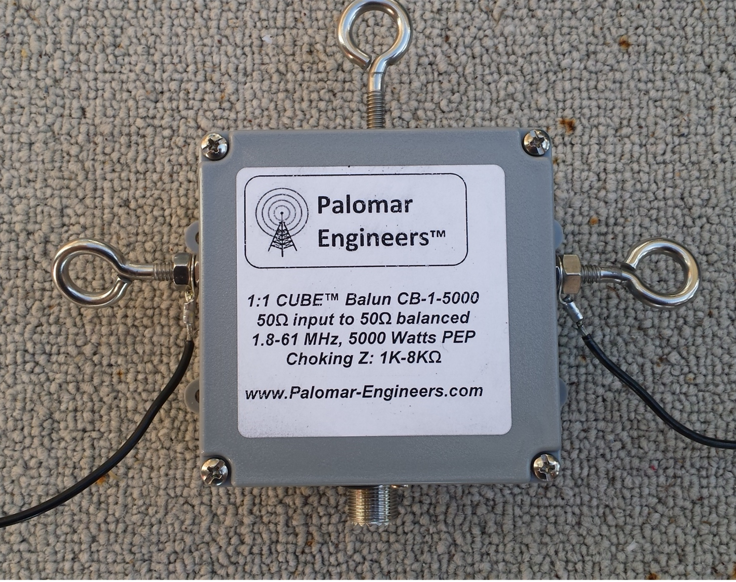 CUBE Feed Line Choke Balun, 1.5KW, 1.8-61 MHz Eyebolt Version CB-1-1500EB