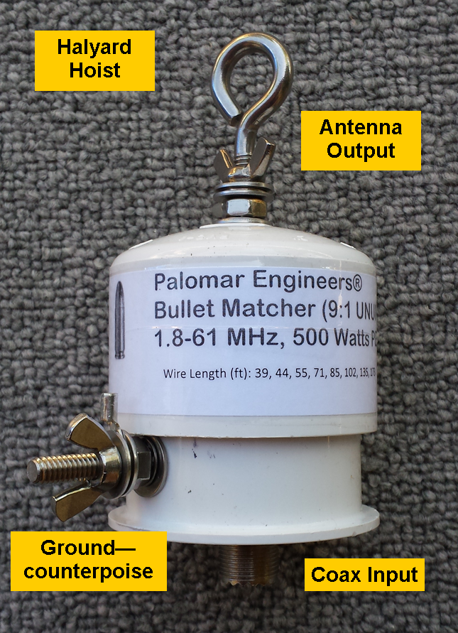 Bullet End Fed Antenna Matcher (9:1) - 500 watts PEP, 1.8-61 MHz Bullet-9U