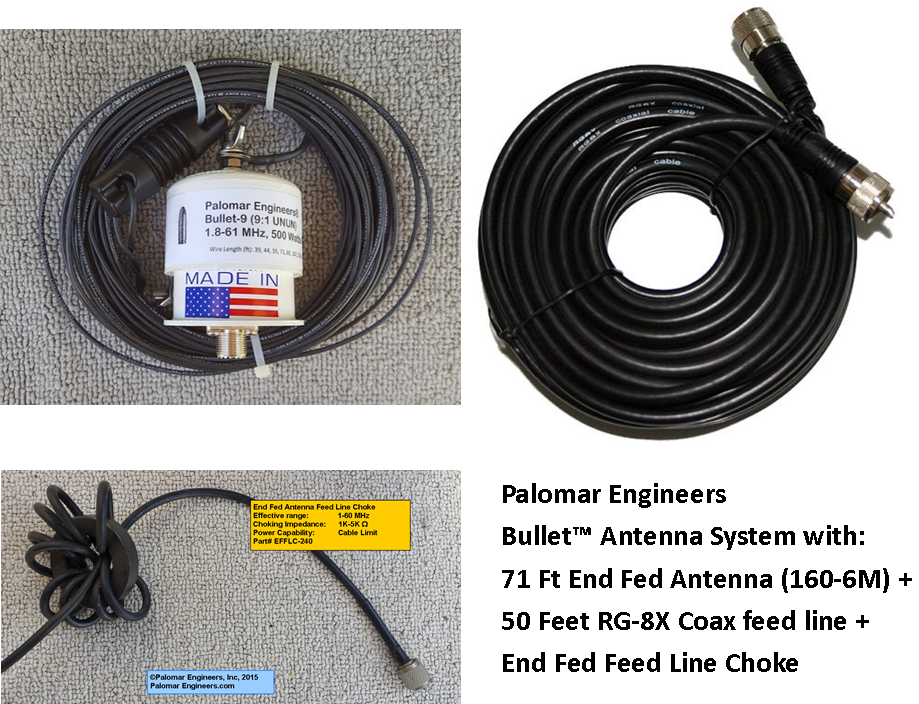 Bullet End Fed Antenna System - 71' Antenna (80-6 meters), 50' Coax and  Choke FREE Ship - 500 Watt PEP