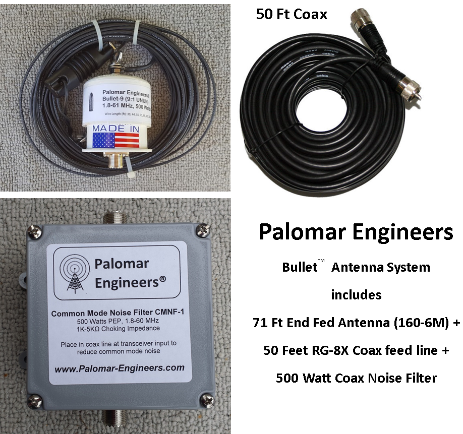 Bullet End Fed Antenna System - 71' Antenna (80-6 meters), 50' Coax + Super Noise Filter, Counterpoise Kit - FREE Ship - 500 Watt PEP BAS-500NF