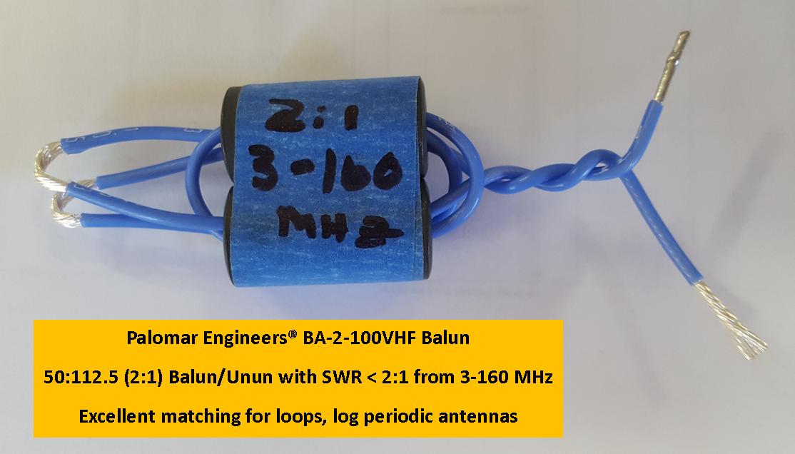 100:50 ohm (2:1) VHF Balun or Unun Core Kit, 3-150 MHz, 100 watts Preassembled BA-2-100VHF