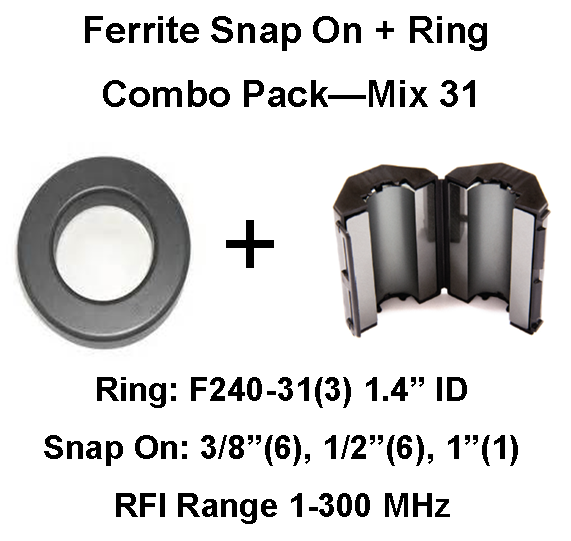 Ferrite Snap on/Ring Combo Pack, Mix 31, RFI Range 1-300 MHz - 16 filters FSRCP-31