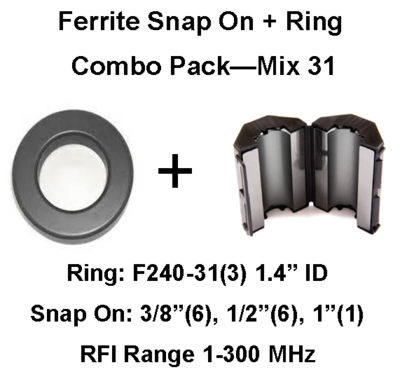 Ferrite Snap on/Ring Combo Pack, Mix 31, RFI Range 1-300 MHz - 16 filters